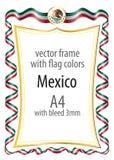 Quadro e beira com a brasão e fita com as cores da bandeira de México Imagem de Stock Royalty Free