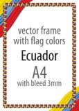 Quadro e beira da fita com as cores da bandeira de Equador Fotografia de Stock Royalty Free