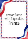 Quadro e beira da fita com as cores da bandeira de França Imagem de Stock