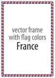 Quadro e beira da fita com as cores da bandeira de França Fotos de Stock