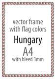Quadro e beira da fita com as cores da bandeira de Hungria ilustração royalty free