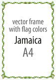 Quadro e beira da fita com as cores da bandeira de Jamaica Imagens de Stock Royalty Free