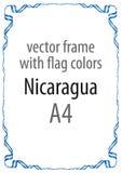 Quadro e beira da fita com as cores da bandeira de Nicarágua Fotografia de Stock Royalty Free