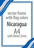 Quadro e beira da fita com as cores da bandeira de Nicarágua ilustração stock