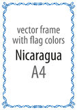 Quadro e beira da fita com as cores da bandeira de Nicarágua Imagens de Stock Royalty Free