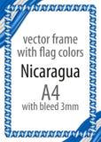 Quadro e beira da fita com as cores da bandeira de Nicarágua Fotos de Stock