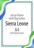 Quadro e beira da fita com as cores da bandeira de Serra Leoa Fotografia de Stock