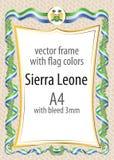 Quadro e beira da fita com as cores da bandeira de Serra Leoa Imagem de Stock