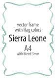 Quadro e beira da fita com as cores da bandeira de Serra Leoa Fotografia de Stock Royalty Free