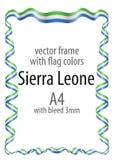 Quadro e beira da fita com as cores da bandeira de Serra Leoa Fotos de Stock Royalty Free