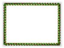 Quadro e beira da fita com a bandeira da Zâmbia, afiando da corda dourada ilustração 3D Foto de Stock Royalty Free