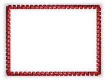 Quadro e beira da fita com a bandeira de Albânia, afiando da corda dourada ilustração 3D Imagem de Stock