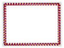 Quadro e beira da fita com a bandeira de Armênia ilustração 3D Imagens de Stock Royalty Free