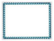 Quadro e beira da fita com a bandeira de Botswana, afiando da corda dourada ilustração 3D Imagem de Stock
