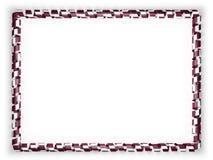 Quadro e beira da fita com a bandeira de Catar ilustração 3D Fotografia de Stock Royalty Free