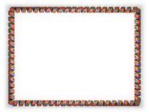 Quadro e beira da fita com a bandeira de Eritreia, afiando da corda dourada ilustração 3D Fotos de Stock