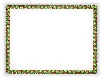 Quadro e beira da fita com a bandeira de Guiana ilustração 3D Fotografia de Stock Royalty Free