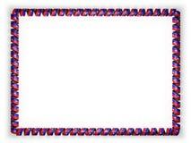 Quadro e beira da fita com a bandeira de Haiti, afiando da corda dourada ilustração 3D Fotografia de Stock Royalty Free