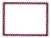 Quadro e beira da fita com a bandeira de Laos ilustração 3D Imagem de Stock