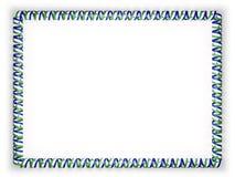 Quadro e beira da fita com a bandeira de Lesoto ilustração 3D Imagens de Stock Royalty Free