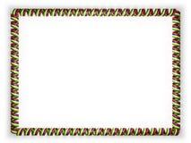 Quadro e beira da fita com a bandeira de Maurícias, afiando da corda dourada ilustração 3D Fotografia de Stock Royalty Free