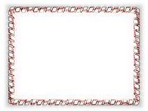 Quadro e beira da fita com a bandeira de Nepal, afiando da corda dourada ilustração 3D Imagem de Stock
