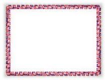 Quadro e beira da fita com a bandeira de Porto Rico ilustração 3D Imagens de Stock