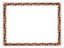Quadro e beira da fita com a bandeira de Romênia, afiando da corda dourada ilustração 3D Fotografia de Stock Royalty Free