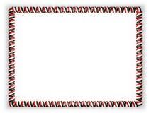 Quadro e beira da fita com a bandeira de Síria, afiando da corda dourada ilustração 3D Imagens de Stock Royalty Free