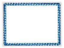 Quadro e beira da fita com a bandeira de South Dakota do estado, EUA ilustração 3D Imagem de Stock