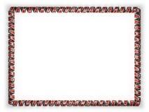 Quadro e beira da fita com a bandeira de Suazilândia, afiando da corda dourada ilustração 3D Imagens de Stock Royalty Free