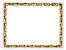 Quadro e beira da fita com a bandeira de Zimbabwe, afiando da corda dourada ilustração 3D Foto de Stock Royalty Free