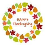 Quadro e fundo redondos coloridos das folhas de outono para a ação de graças feliz Vetor ilustração royalty free