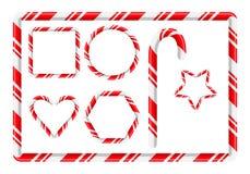 Quadro e mais do bastão de doces para o projeto do Natal isolado no branco ilustração stock