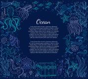 Quadro e texto do mar ilustração do vetor
