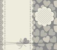 Quadro elegante do laço com corações ilustração stock