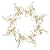 Quadro encaracolado abstrato do ouro isolado no fundo branco Foto de Stock Royalty Free