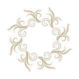 Quadro encaracolado abstrato do ouro no fundo branco Imagem de Stock Royalty Free