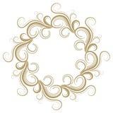 Quadro encaracolado abstrato do ouro no fundo branco Fotos de Stock Royalty Free