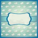 Quadro envelhecido do laço com nuvens ilustração do vetor