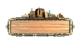 Quadro estilizado do steampunk feito da madeira e do metal, com tentáculos do polvo e cidades ilustração 3D Foto de Stock Royalty Free