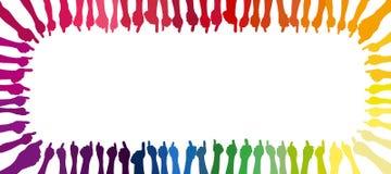 Quadro feito com mãos coloridas em cores diferentes Imagens de Stock Royalty Free