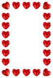 Quadro feito de corações vermelhos Fotografia de Stock