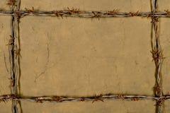 Quadro feito do arame farpado Fotografia de Stock Royalty Free