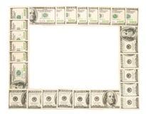 Quadro feito dos dólares isolados Imagens de Stock