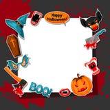Quadro feliz de Dia das Bruxas com símbolos da etiqueta do feriado dos desenhos animados Convite party ou cartão Fotos de Stock
