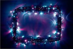 Quadro festivo das luzes Imagens de Stock