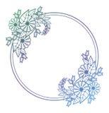 Quadro floral bonito com suficiência do inclinação Fram da silhueta da cor ilustração stock