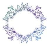 Quadro floral bonito com suficiência do inclinação Fram da silhueta da cor ilustração royalty free