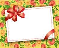 Quadro floral com fita Imagem de Stock Royalty Free